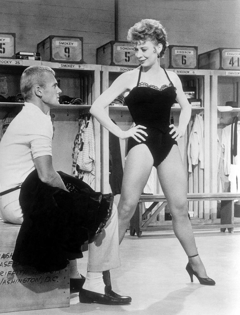 "Tab Hunter and Gwen Verdon perform the musical number ""Whatever Lola Wants"" in ""Damn Yankees."""