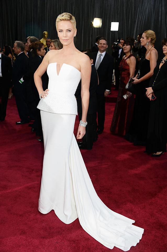 Charlize Theron arrives at the Oscars in Hollywood, California, on February 24, 2013.