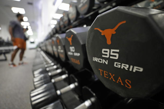 Detail of dumbbells in the Dr. Nasser Al-Rashid Strength and Training Center Wednesday Sept. 4, 2019 in Austin, Tx. ( Photo by Edward A. Ornelas )