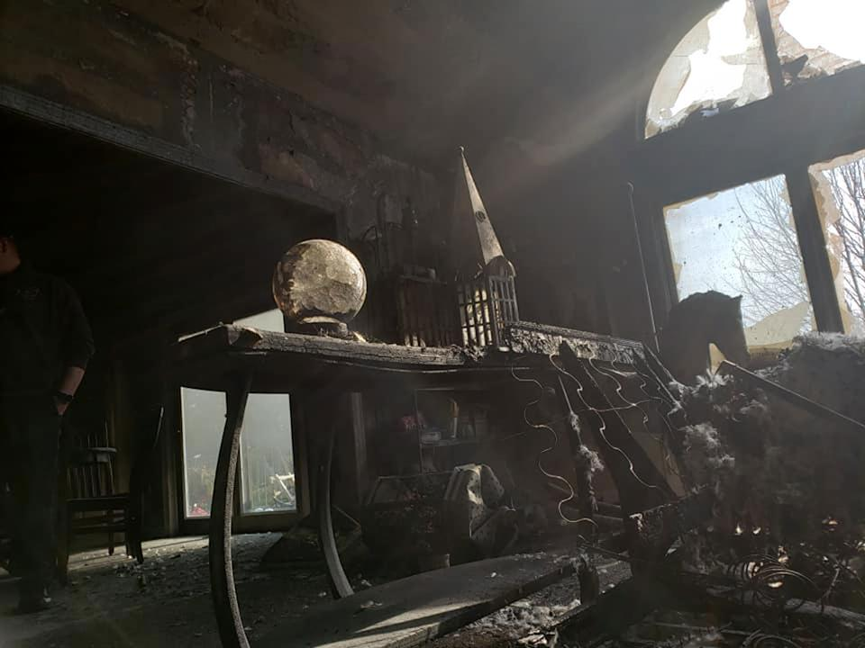 The crystal ball caused the fire which tore through the living room. Source:Facebook/Delton Fire Department
