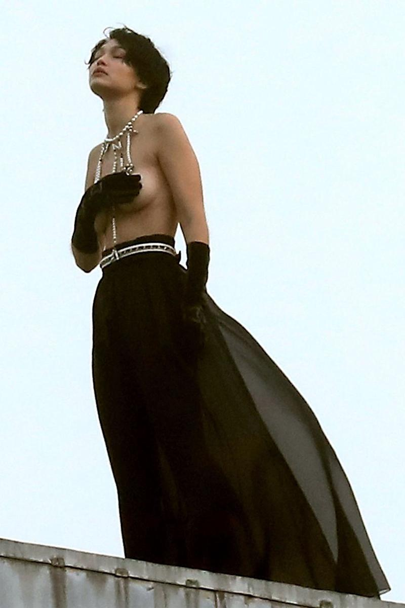Gigi Hadid Goes Topless and Wears a Wig for Dramatic Chanel Photoshoot