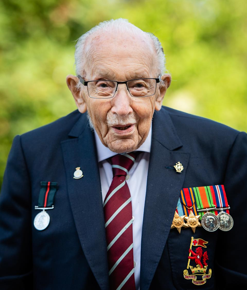 """Captain Sir Tom Moore poses during a photocall to mark the launch of his memoir """"Tomorrow Will Be A Good Day"""" at The Coach House on September 17, 2020 in Milton Keynes, England. (Photo by Samir Hussein/WireImage)"""