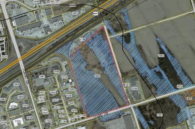 The Ford government has ordered the Toronto Region Conservation Authority to issue a development permit for the property in Pickering at the centre of this map, owned by the Triple Group of Companies, backers of the nearby Durham Live casino complex. The portion indicated by the blue diagonal lines is designated as a provincially significant wetland by Ontario's Ministry of Natural Resources.