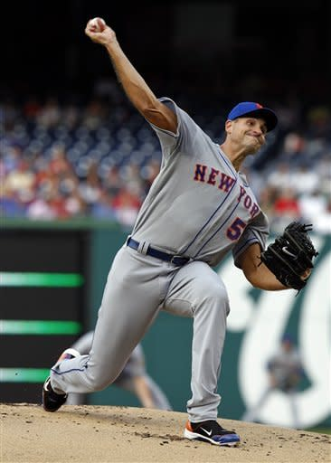 New York Mets pitcher Chris Young throws during the first inning of a baseball game against the Washington Nationals, Tuesday, June 5, 2012, in Washington. (AP Photo/Alex Brandon)