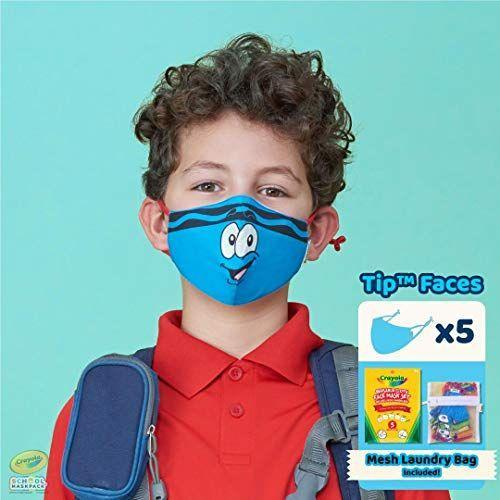"""<p><strong>School MaskPack</strong></p><p>amazon.com</p><p><strong>$16.99</strong></p><p><a href=""""https://www.amazon.com/dp/B08B2K8PJQ?tag=syn-yahoo-20&ascsubtag=%5Bartid%7C10055.g.37160033%5Bsrc%7Cyahoo-us"""" rel=""""nofollow noopener"""" target=""""_blank"""" data-ylk=""""slk:Shop Now"""" class=""""link rapid-noclick-resp"""">Shop Now</a></p><p>This adorable set comes with a pack of 5 masks designed for each school day during the week. Designed in a wide range of sizes for students across grades and ages, the cotton-based reusable masks come with a washing bag to make weekly routines that much easier. The upward design of the flexible nose bridge interacts perfectly with your child's glasses', allowing the frames to rest just atop the masks' upper seal.<br></p>"""