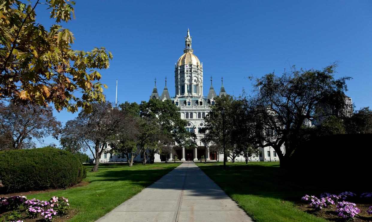 UNITED STATES - OCTOBER 10: The Connecticut State Capitol is located north of Capitol Avenue and south of Bushnell Park in Hartford, Connecticut (Photo by Carol M. Highsmith/Buyenlarge/Getty Images)