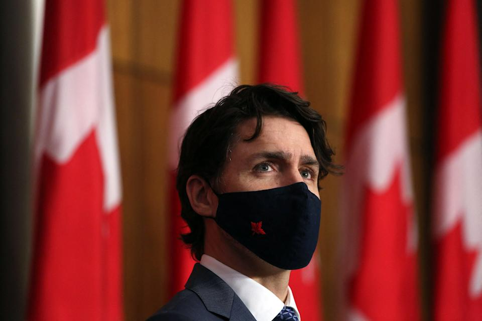 Canadian Prime Minister Justin Trudeau listens to a reporter's question during a news conference April 16, 2021 in Ottawa, Canada. (Photo by Dave Chan / AFP) (Photo by DAVE CHAN/AFP via Getty Images)