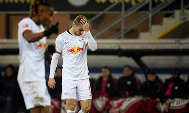RB Leipzig pair Christopher Nkunku and Timo Werner show their frustration at Paderborn before their team won 3-2 to go top of the Bundesliga (AFP Photo/INA FASSBENDER)