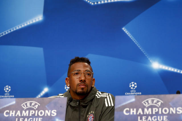 Bayern's Jerome Boateng attends a news conference in Munich, Germany, Tuesday, April 24, 2018. FC Bayern Munich will face Real Madrid for a Champions League semi final first leg soccer match in Munich on Wednesday, April 25, 2018. (AP Photo/Matthias Schrader)