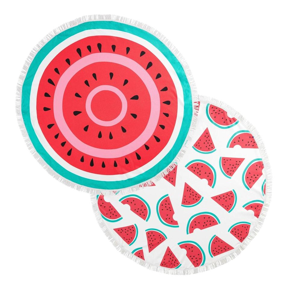 <p>Turn on some Harry Styles and jam out while you relax on these <span>Mudd 2pk Digital Printed Watermelon Microfiber Round Beach Towels with Fringe</span> ($40).</p>
