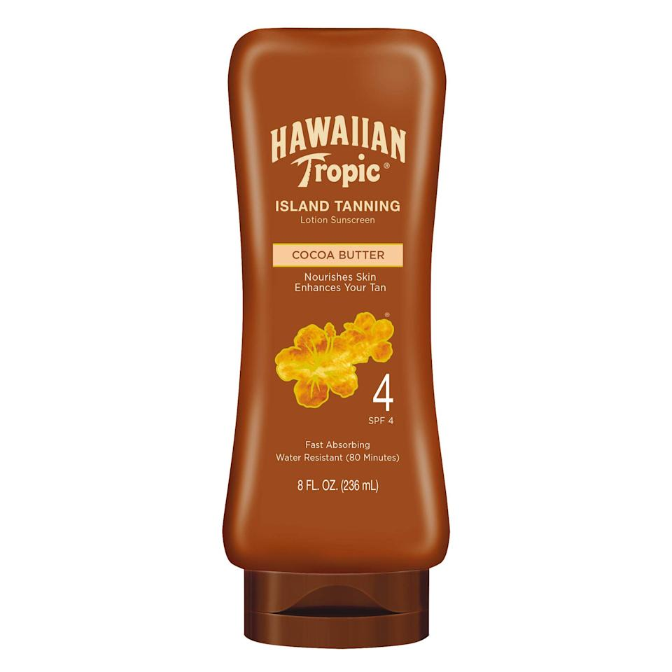 """<h3>Hawaiian Tropic Tanning Sun Care Sunscreen Lotion<br></h3><br><strong>The Beachy Self Tanner</strong><br><br>We'll preface this by saying that if you're going outside, double up with <a href=""""https://www.refinery29.com/en-us/best-sunscreen-reviews"""" rel=""""nofollow noopener"""" target=""""_blank"""" data-ylk=""""slk:an actual sunscreen"""" class=""""link rapid-noclick-resp"""">an actual sunscreen</a> since SPF 4 won't shield you from a whole lot. However, there's nothing quite like Hawaiian Tropic's fan-favorite lotion, which imparts a subtle bronze tint on skin.<br><br><strong>The Hype:</strong> 4.7 out of 5 stars and 269 reviews on <a href=""""https://www.amazon.com/Hawaiian-Tropic-Sunscreen-Protective-Tannning/dp/B0031DKJBI/"""" rel=""""nofollow noopener"""" target=""""_blank"""" data-ylk=""""slk:Amazon"""" class=""""link rapid-noclick-resp"""">Amazon</a><br><br><strong>Reviewers Say: </strong>""""I can always tell when someone is using Hawaiian Tropic products, that amazing scent is just so distinct! Takes me back to Hawaii every time. I can literally detect it from a mile away. This particular product doesn't have enough SPF to fully protect you from the sun, however it's a great base if you're looking to get a nice tan. I like to use it when I'm out and about in the sun, (going to the park or running errands outdoors), I would be cautious using it alone if you're planning on sunbathing for an extended period of time. Tan=awesome, melanoma=not so much."""" — James Moat, Amazon Reviewer<br><br><strong>Hawaiian Tropic</strong> Sunscreen Protective Dark Tanning Sun Care Lotion, $, available at <a href=""""https://amzn.to/2Uazrdz"""" rel=""""nofollow noopener"""" target=""""_blank"""" data-ylk=""""slk:Amazon"""" class=""""link rapid-noclick-resp"""">Amazon</a>"""