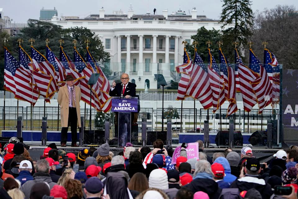 Former New York City Mayor Rudy Giuliani speaks Wednesday, Jan. 6, 2021, during a speech at the Trump rally near the White House on Jan. 6 before the Capitol riot