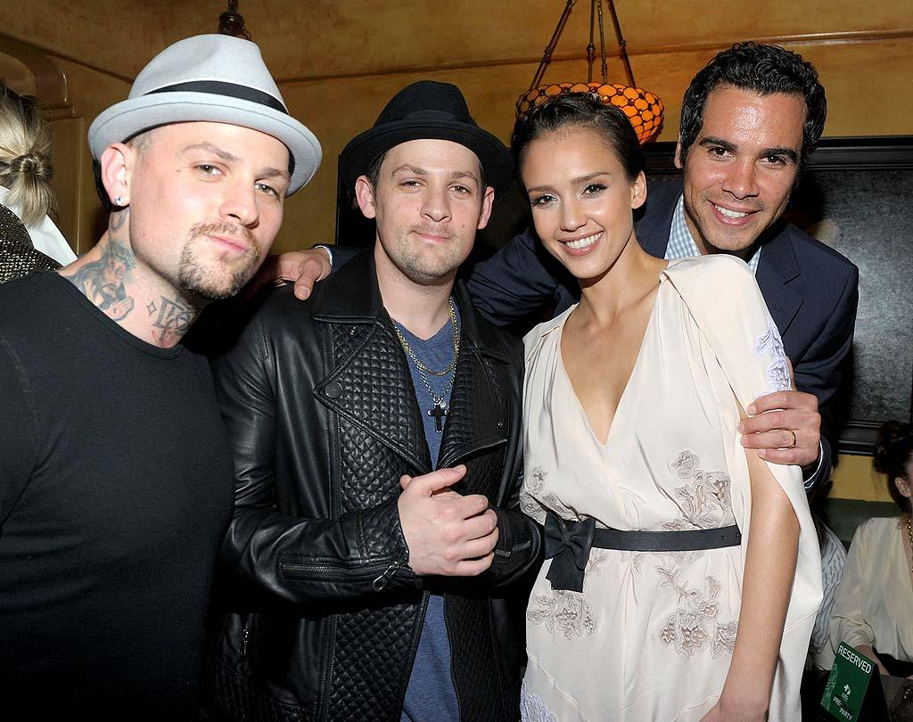 "The musical Madden brothers, Benji and Joel, and Jessica Alba and her hubby Cash Warren were among the celebs partying at Global Green USA's Oscar pre-party at the Avalon in Hollywood. Proceeds benefit the organization's efforts to build ecological schools and homes. Michael Buckner/<a href=""http://www.gettyimages.com/"" target=""new"">GettyImages.com</a> - March 3, 2010"