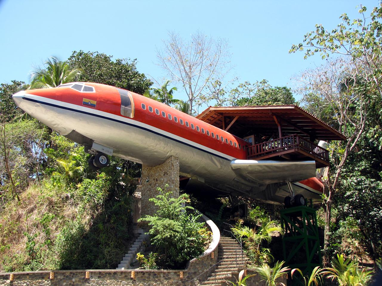 <p>The sky's the limit for this hotel, which is made out of a 1965 Boeing 727. In its former life the plane flew passengers to South Africa and Colombia, but now it's been converted into a two-room suite that juts out from the jungle canopy and features air conditioned ensuites and an outdoor terrace with sea views. From £225 per night. [Photo: Costa Verde] </p>