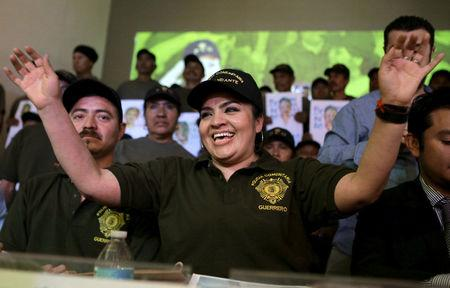 FILE PHOTO: Nestora Salgado, a community police leader in the community of Olinala in the state of Guerrero smiles as she attends a news conference after a judge ordered her release in Mexico City