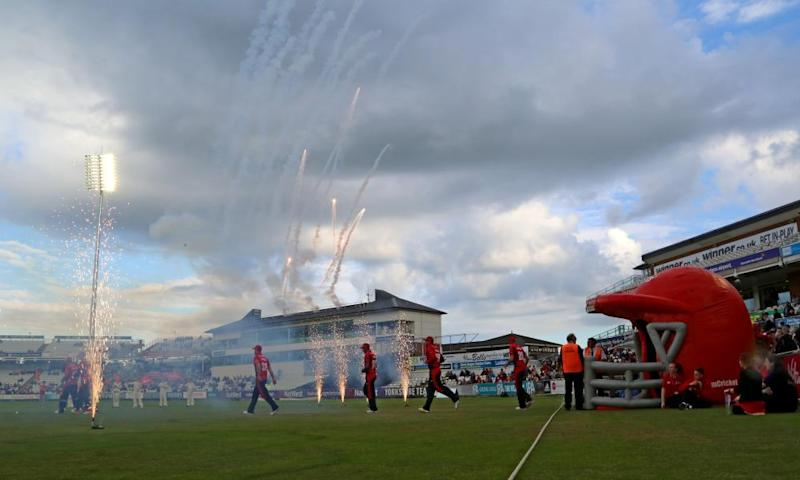 Durham and Yorkshire players take to the field during a T20 Blast game last season.