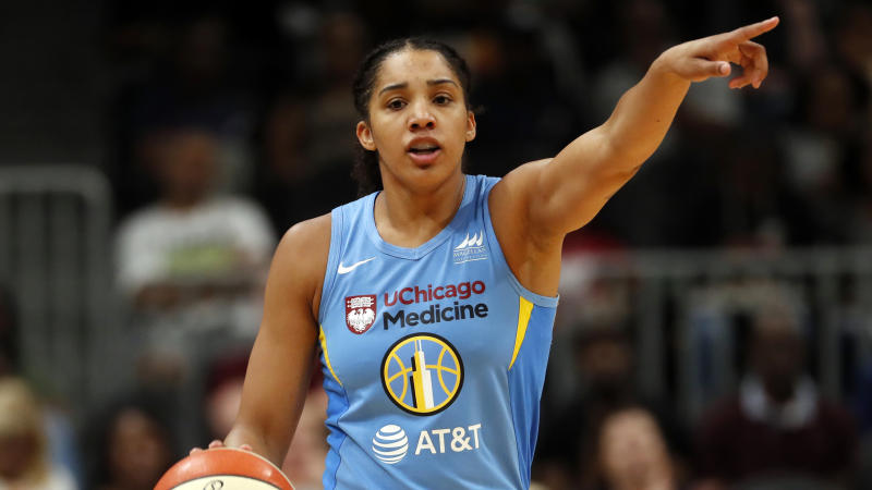 Chicago Sky forward Gabby Williams (15) singles to a teammate in the first half of a WNBA basketball game against the Atlanta Dream Tuesday, Aug. 20, 2019, in Atlanta. (AP Photo/John Bazemore)