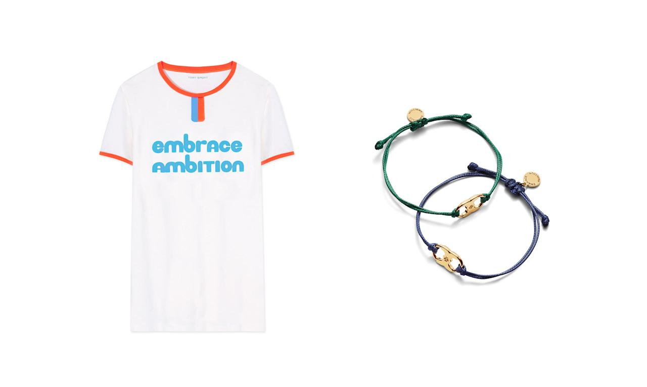 "<p>100% of the proceeds from the Embrace Ambition collection benefits the <a rel=""nofollow"" href=""http://www.toryburchfoundation.org/"">Tory Burch Foundation</a>, which provides access to capital, education, and digital resources for women entrepreneurs.<br /><br />Embrace Ambition Ringer T-Shirt, $35,<a rel=""nofollow"" href=""https://www.toryburch.com/embrace-ambition-ringer-t-shirt/29805.html""> toryburch.com</a><br /> Embrace Ambition Bracelet, $30, <a rel=""nofollow"" href=""https://www.toryburch.com/embrace-ambition-bracelet/41568.html"">toryburch.com</a> </p>"