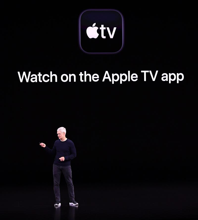 Apple CEO Tim Cook introduces Apple TV plus during a product launch event. (Photo by Josh Edelson/AFP/Getty Images)