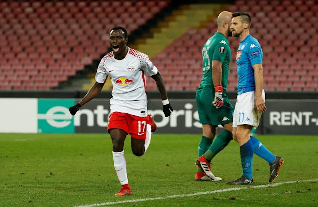 Soccer Football - Europa League Round of 32 First Leg - Napoli vs RB Leipzig - Stadio San Paolo, Naples, Italy - February 15, 2018 RB Leipzig's Bruma celebrates scoring their second goal REUTERS/Ciro De Luca