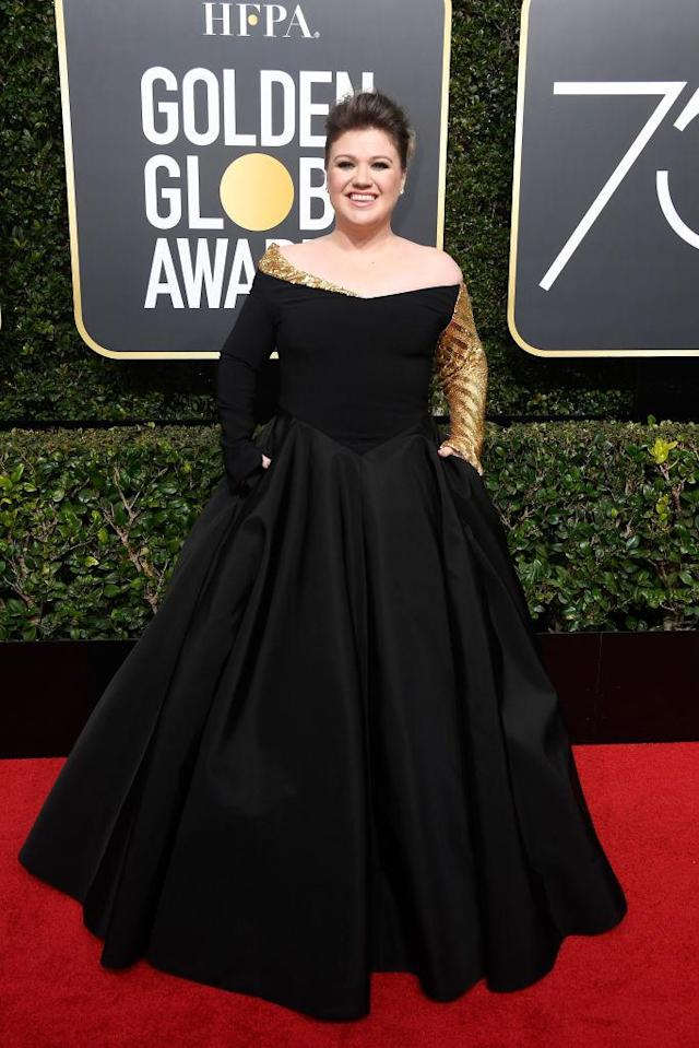 <p>Kelly Clarkson, a presenter, attends the 75th Annual Golden Globe Awards at the Beverly Hilton Hotel in Beverly Hills, Calif., on Jan. 7, 2018. (Photo: Steve Granitz/WireImage) </p>