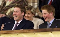 <p>William and Harry enjoying the party with their aunt, the Countess of Wessex at the Palace concert in the gardens of Buckingham Palace in June 2002, for the second concert to commemorate the Golden Jubilee of their grandmother, the Queen. (Arthur Edwards/AFP)</p>