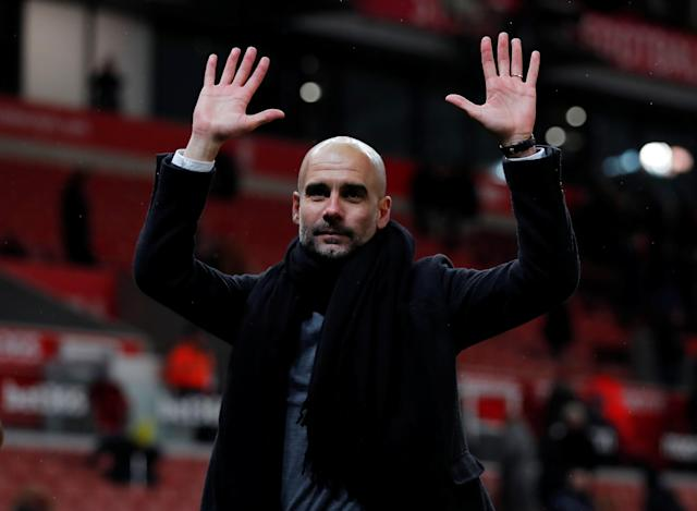 "Soccer Football - Premier League - Stoke City vs Manchester City - bet365 Stadium, Stoke-on-Trent, Britain - March 12, 2018 Manchester City manager Pep Guardiola gestures after the match Action Images via Reuters/Andrew Couldridge EDITORIAL USE ONLY. No use with unauthorized audio, video, data, fixture lists, club/league logos or ""live"" services. Online in-match use limited to 75 images, no video emulation. No use in betting, games or single club/league/player publications. Please contact your account representative for further details."