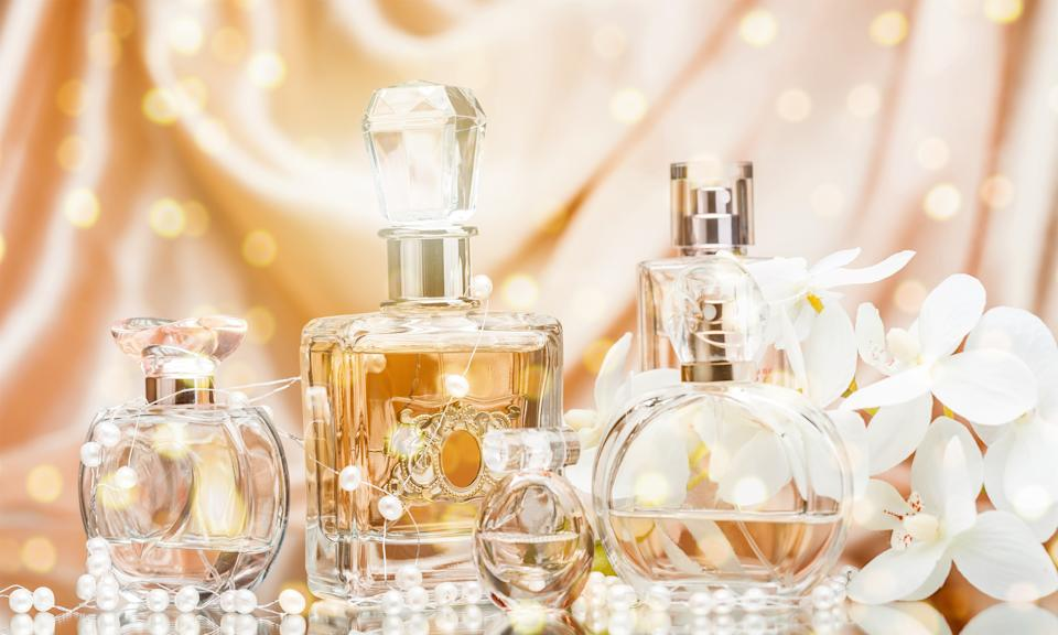 Glass Perfume Bottles with Flowers and Pearls