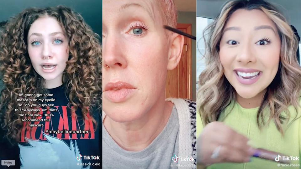 Maybelline's Sky High Mascara has gone viral on TikTok (Images via TikTok/Jessica.c.eid/KSpader27/Rocio.roses)