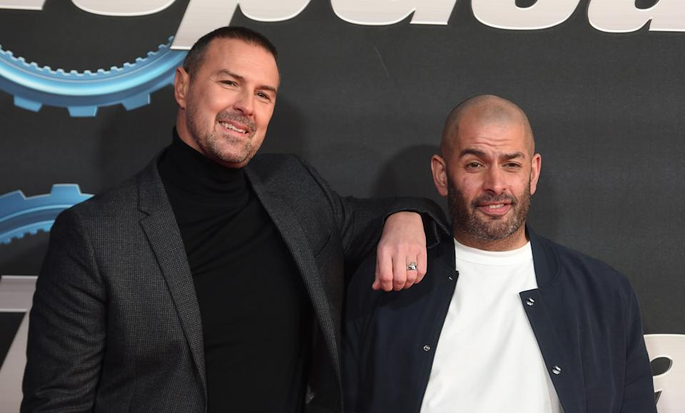 """Paddy McGuinness and Chris Harris attend the """"Top Gear"""" World TV Premiere at Odeon Luxe Leicester Square on January 20, 2020 in London, England. (Photo by Stuart C. Wilson/Getty Images)"""
