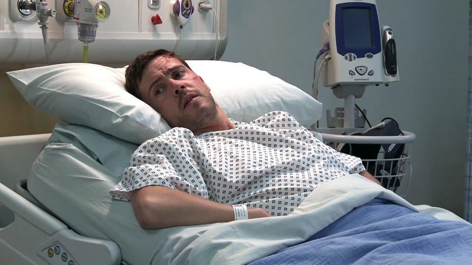 FROM ITV  STRICT EMBARGO - No Use Before Tuesday 3rd August 2021  Coronation Street - Ep 10399  Monday 9th August 2021 - 2nd Ep  A battered and bruised Todd Grimshaw [GARETH PIERCE] tells Eileen Grimshaw [SUE CLEAVER] he can't remember much about the accident. Eileen's relieved that he's on the mend.   Picture contact David.crook@itv.com   This photograph is (C) ITV Plc and can only be reproduced for editorial purposes directly in connection with the programme or event mentioned above, or ITV plc. Once made available by ITV plc Picture Desk, this photograph can be reproduced once only up until the transmission [TX] date and no reproduction fee will be charged. Any subsequent usage may incur a fee. This photograph must not be manipulated [excluding basic cropping] in a manner which alters the visual appearance of the person photographed deemed detrimental or inappropriate by ITV plc Picture Desk. This photograph must not be syndicated to any other company, publication or website, or permanently archived, without the express written permission of ITV Picture Desk. Full Terms and conditions are available on  www.itv.com/presscentre/itvpictures/terms