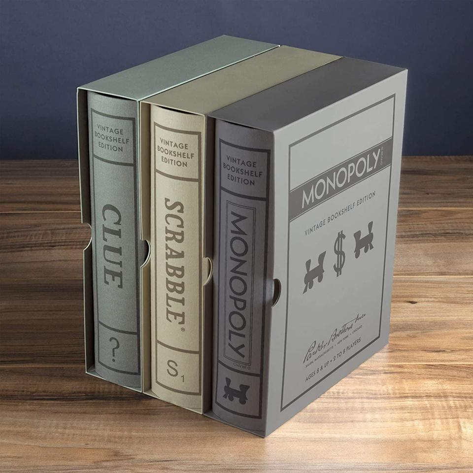 <p>This <span>Scrabble, Monopoly, and Clue Vintage Board Game Bookshelf Collection</span> ($100, originally $120) looks so elevated, and contains three of the classic games they'll love.</p>
