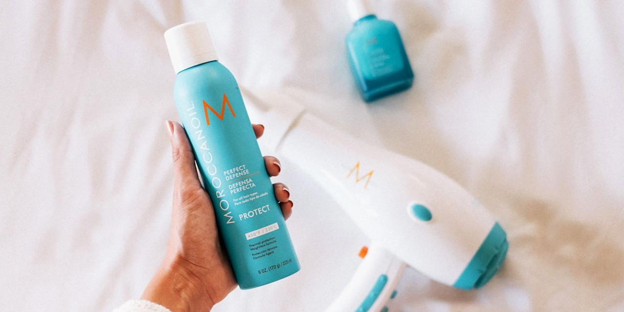 """<p>Heat-styling tools can be toxic to our strands, so while hair <em>looks</em> healthy in the short-term, it significantly <a href=""""https://www.marieclaire.com/beauty/news/a13765/blowdry-mistakes-you-need-to-stop-making/"""" target=""""_blank"""">suffers in the long-term</a>. Using heat upwards of 450-degrees not only dries out hair, but after years of use, can make hair brittle and dull — split ends included. </p><p>Before the blow-drying, straightening, or curling begins, spritz these heat-protection sprays from root to tip. They're packed with ingredients to <a href=""""https://www.elle.com.au/beauty/does-heat-protection-spray-work-19148"""" target=""""_blank"""">nix frizz and hydrate strands</a>, essentially forming a barrier over your hair once it comes into contact with heat. Say bye to thermal damage and hello to Beyoncé hair goals with these heat-protection sprays. <br> </p><h2>Our Favorites</h2><ol> <li><strong>Best Overall</strong>: <a href=""""http://www.amazon.com/dp/B002RS6JSA/"""">CHI 44 Iron Guard Thermal Protection Spray</a></li>   <li><strong>Protects Color</strong>: <a href=""""https://www.amazon.com/Moroccanoil-Perfect-Defense-Fl-Oz/dp/B075FBD7CM/"""">MOROCCANOIL Perfect Defense</a></li>   <li><strong>Shields Against UV</strong>: <a href=""""https://www.amazon.com/dp/B00LXOR3QQ"""">Living Proof Restore Instant Protection Hairspray</a></li><li><strong>Best for Flat Iron Use: </strong><a href=""""https://www.amazon.com/dp/B004DKAYUE/"""" target=""""_blank"""">John Frieda Frizz Ease 3-Day Straight Flat Iron Spray</a></li>   <li><strong>Flexible Hold</strong>: <a href=""""http://www.amazon.com/dp/B002NBF8SI/"""">Paul Mitchell Hot Off The Press Thermal Protection Spray</a></li>   <li><strong>Best Budget Buy</strong>: <a href=""""https://www.ulta.com/thermal-creations-heat-tamer-spray"""" target=""""_blank"""">TRESemmé Thermal Creations Heat Tamer Spray</a></li>   <li><strong>Best Smelling</strong>: <a href=""""http://www.amazon.com/dp/B000RSJKTM/"""">TIGI S Factor Flat Iron Spray</a></li><li><strong>Best for Curly Hair:</str"""