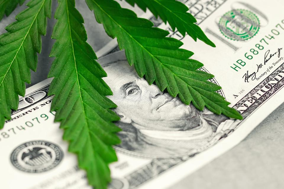 Marijuana leaf atop a 100-dollar bill.