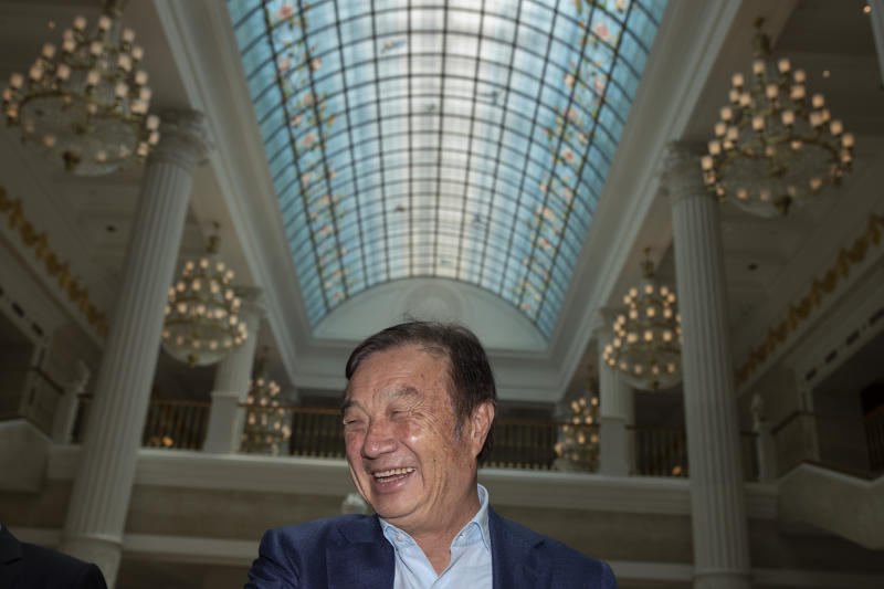 Huawei's founder Ren Zhengfei, reacts during an interview at the Huawei campus in Shenzhen in Southern China's Guangdong province on Tuesday, Aug. 20, 2019. Ren said he expects no relief from U.S. export curbs due to the political climate in Washington but expresses confidence the company will thrive with its own technology. (AP Photo/Ng Han Guan)