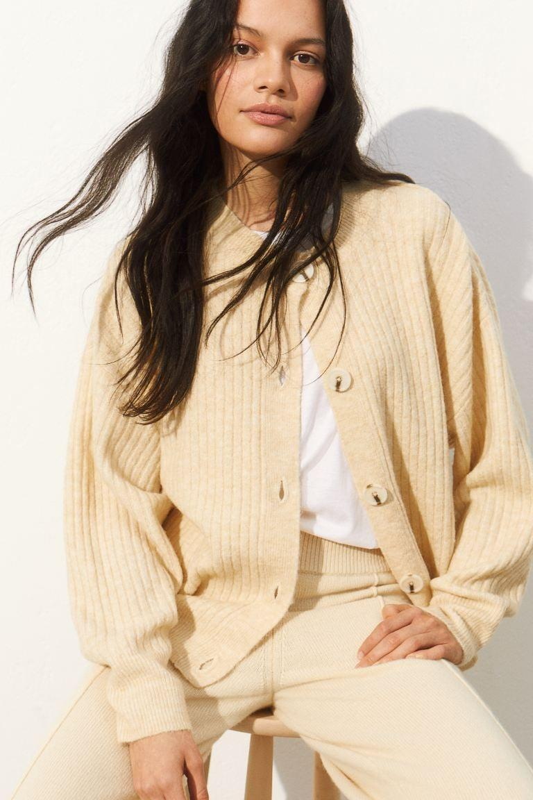 <p>Stay cozy and comfortable in this <span>H&amp;M Rib-Knit Cardigan</span> ($20).</p>