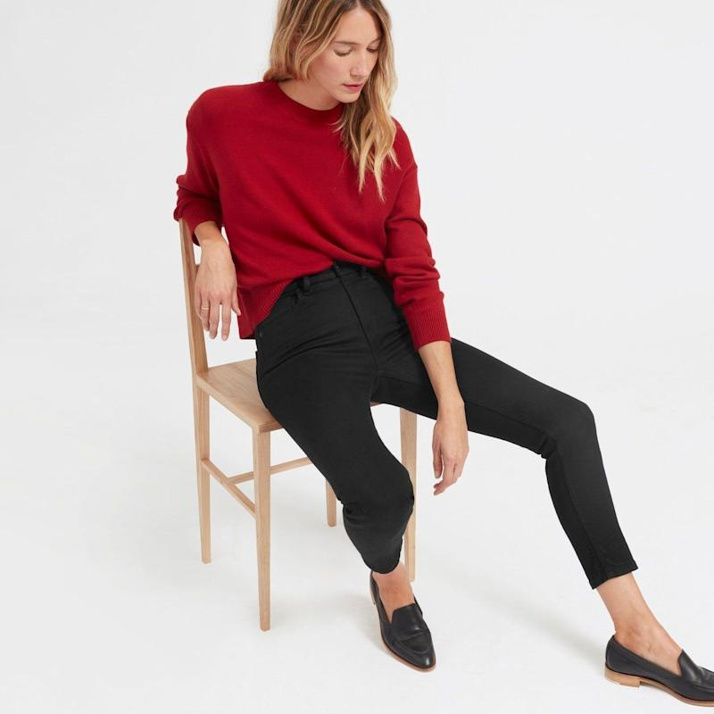"""<a href=""""https://www.everlane.com/products/womens-high-waist-indigo-denim-jeans-ankle?collection=womens-jeans"""" target=""""_blank"""">Everlane's brand-new denim collection</a> is one for the books. They're durable, keep their shape, and they're incredibly affordable at $68 a pair."""