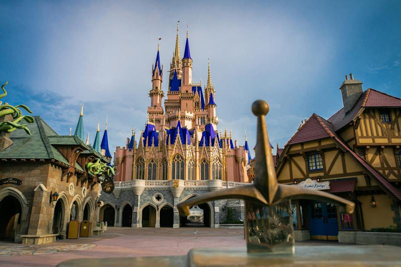 LAKE BUENA VISTA, FL - JUNE 30: In this handout photo provided by Walt Disney World Resort, the Cinderella Castle inside Magic Kingdom Park is currently receiving a royal makeover, and the work is nearly complete on June 30, 2020 in Lake Buena Vista, Florida. When finished, the icon will feature bold, shimmering and regal enhancements, including sapphire dusting on the blue rooftops and gold trim. Walt Disney World Resort theme parks begin their phased reopening on July 11, 2020.(Photo by Olga Thompson/Walt Disney World Resort via Getty Images)