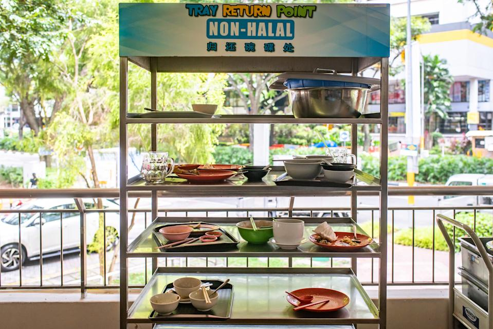 A tray return rack at the Beach Road Food Centre. (Yahoo News Singapore file photo)