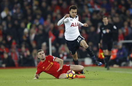 Liverpool v Tottenham Hotspur - Premier League - Anfield - 11/2/17 Tottenham's Dele Alli in action with Liverpool's Jordan Henderson Action Images via Reuters / Carl Recine Livepic