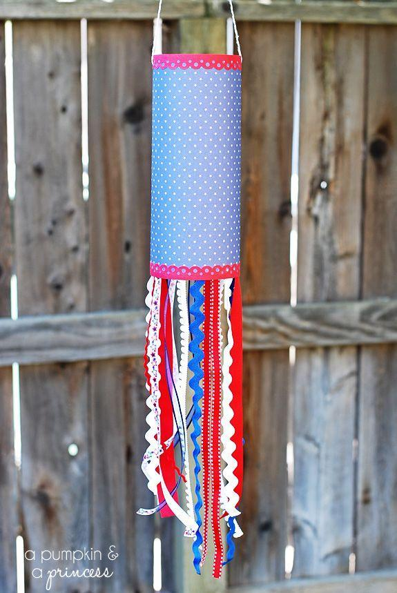 """<p>Let the red, white, and blue fly with these decorative pieces made from chipboard, scrapbook paper, deco scissors, glue, ribbon, and twine. </p><p><em>Get the tutorial from <a href=""""http://apumpkinandaprincess.com/2013/05/patriotic-paper-windsock-summer-activities-for-kids.html"""" rel=""""nofollow noopener"""" target=""""_blank"""" data-ylk=""""slk:A Pumpkin and A Princess"""" class=""""link rapid-noclick-resp"""">A Pumpkin and A Princess</a>. </em></p><p><strong>What You'll Need:</strong> <a href=""""https://www.amazon.com/Grosgrain-Ribbon-Stripes-Valentines-Decorating/dp/B01MTA6KGT/?tag=syn-yahoo-20&ascsubtag=%5Bartid%7C10070.g.2446%5Bsrc%7Cyahoo-us"""" rel=""""nofollow noopener"""" target=""""_blank"""" data-ylk=""""slk:Red and white ribbon"""" class=""""link rapid-noclick-resp"""">Red and white ribbon</a> ($13, Amazon)<br></p>"""