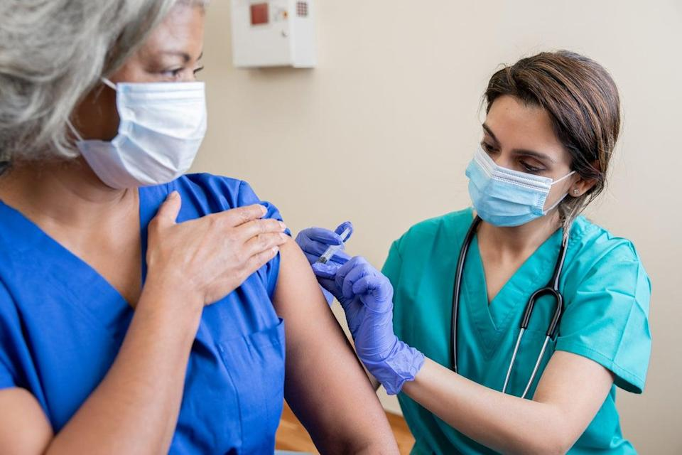 Around 70 per cent of New York City hospital workers have been vaccinated (Getty Images)