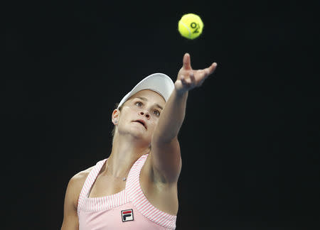 FILE PHOTO: Tennis - Australian Open - Quarter-final - Melbourne Park, Melbourne, Australia, January 22, 2019. Australia's Ashleigh Barty in action during the match against Czech Republic's Petra Kvitova. REUTERS/Edgar Su/File Photo