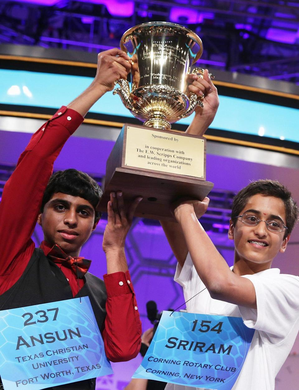 <p><strong>Winners: </strong>Sriram Hathwar and Ansun Sujoe</p> <p><strong>Words they won with: </strong>stichomythia and feuilleton</p>