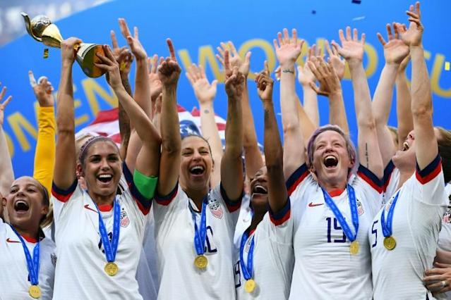 The USA won this year's women's World Cup in France. Belgium has become the 10th country to express an interest in hosting an expanded 32-team tournament in 2023 (AFP Photo/FRANCK FIFE)