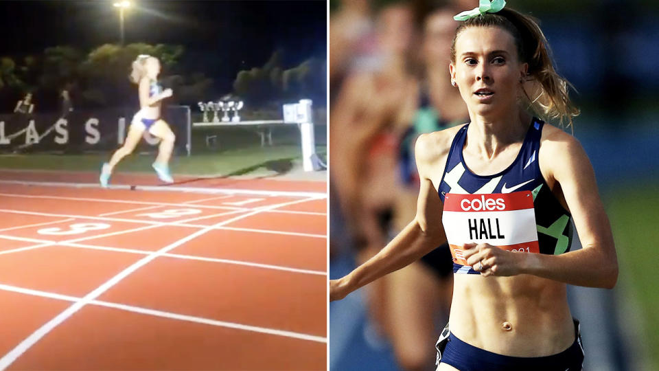 Linden Hall, pictured here completing the 1500m in under four minutes.