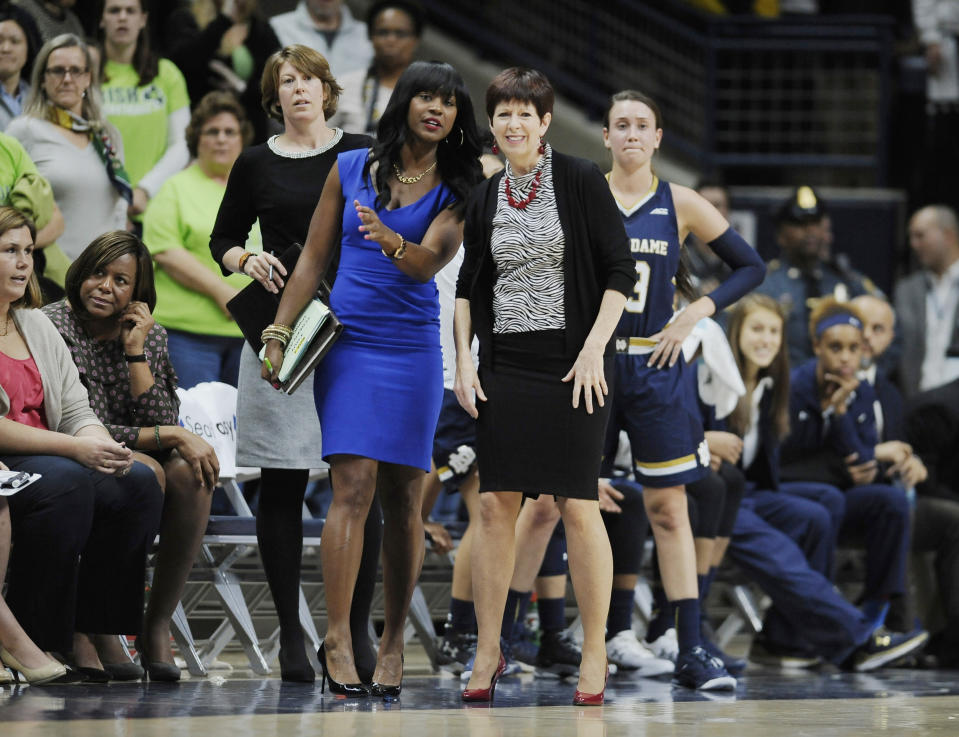 FILE - In this Dec. 5, 2015, file photo, Notre Dame associate coach Niele Ivey, left, and head coach Muffet McGraw watch during the first half of an NCAA college basketball game against UConn in Storrs, Conn. Ivey is ready to take over a Notre Dame program where she spent 17 years as a player and assistant coach. Ivey follows her mentor Muffet McGraw , who retired after 33 years at the school Wednesday, April 22, 2020. (AP Photo/Jessica Hill, File)