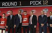 June 23, 2017; Chicago, IL, USA; Martin Necas poses for photos after being selected as the number twelve overall pick to the Carolina Hurricanes in the first round of the 2017 NHL Draft at the United Center. Mandatory Credit: David Banks-USA TODAY Sports