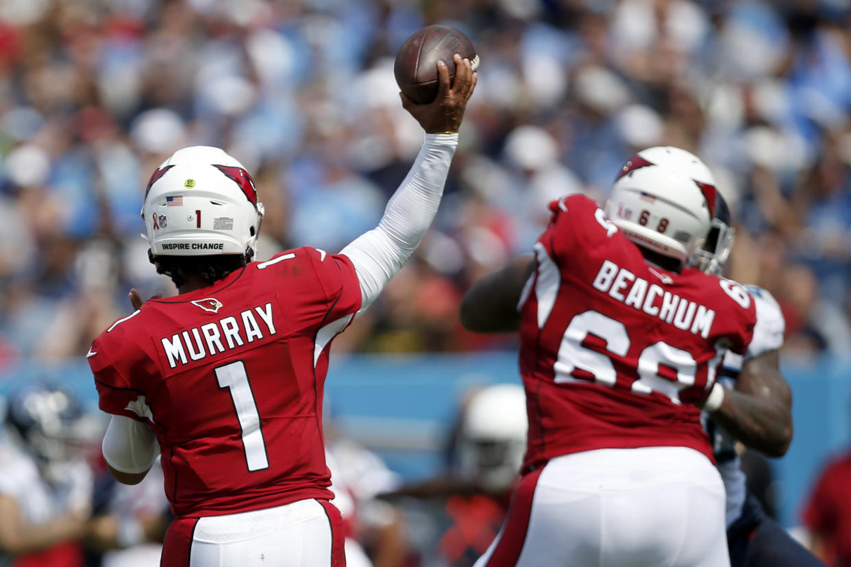 NASHVILLE, TENNESSEE - SEPTEMBER 12: Kyler Murray #1 of the Arizona Cardinals throws a pass against the Tennessee Titans during the first half at Nissan Stadium on September 12, 2021 in Nashville, Tennessee. (Photo by Silas Walker/Getty Images)