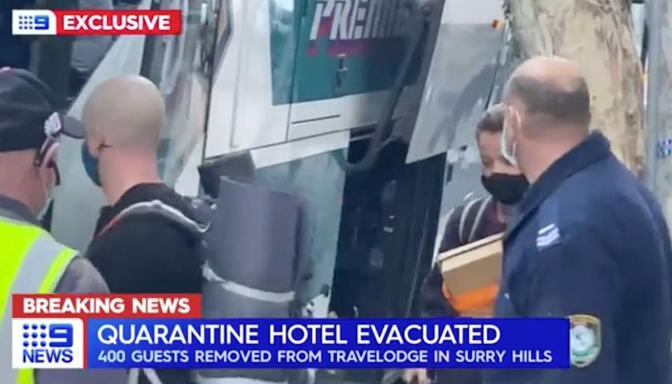 "How Australia's Channel 9 News reported the ""evacuation"" of guests from a Sydney quarantine hotel were there had be complaints about the condition of rooms. (Photo: Channel 9 )"